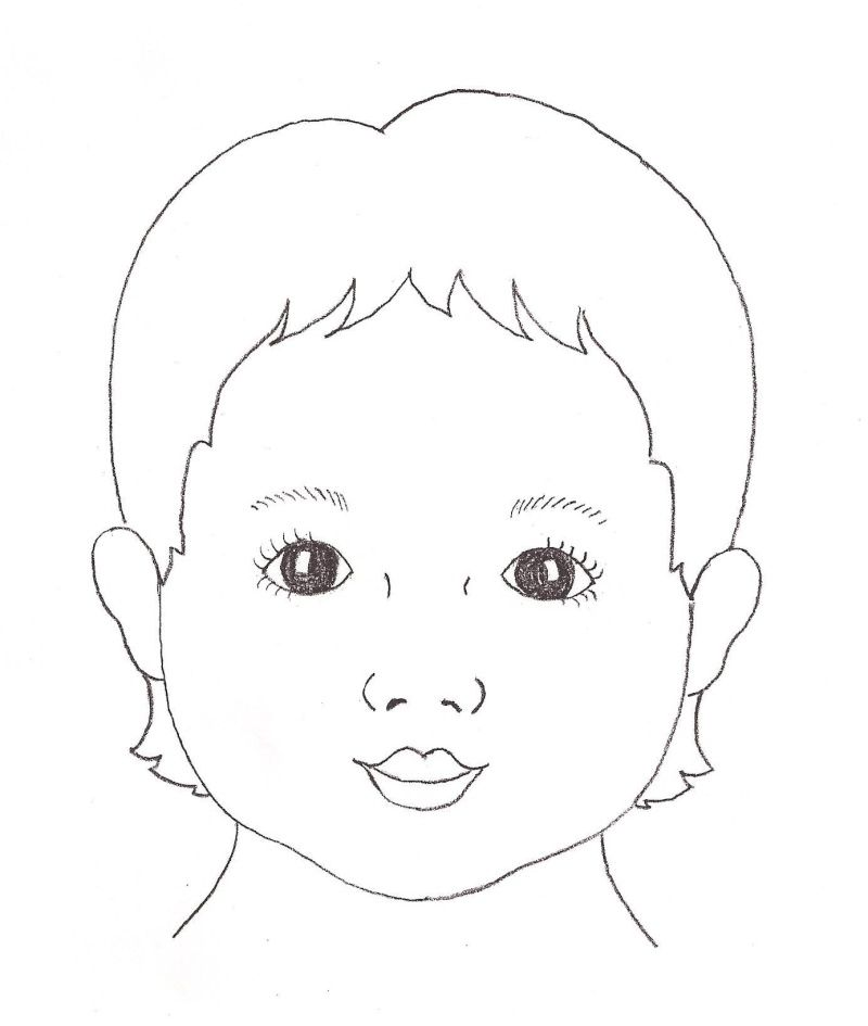Line Drawing Of Child S Face : Child face template re outlines art ideas