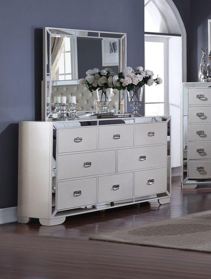 Gloria Cream Dresser And Mirror Furniture Living Room Modern Room Ideas Bedroom