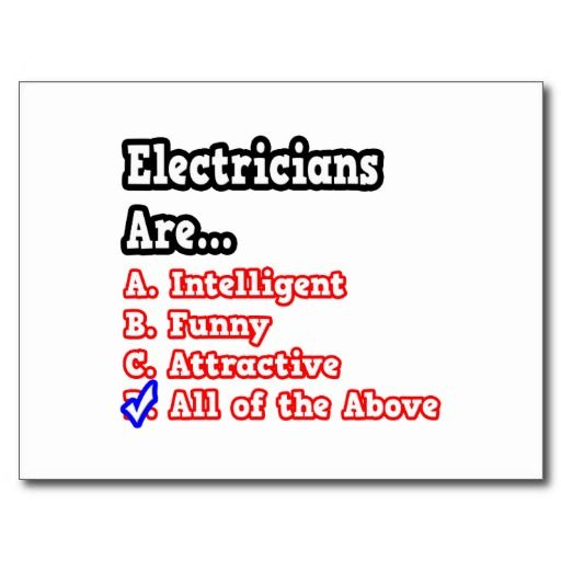 Electrician Quotes Electrician Quizjoke Postcard  Humor And Electrician Humor