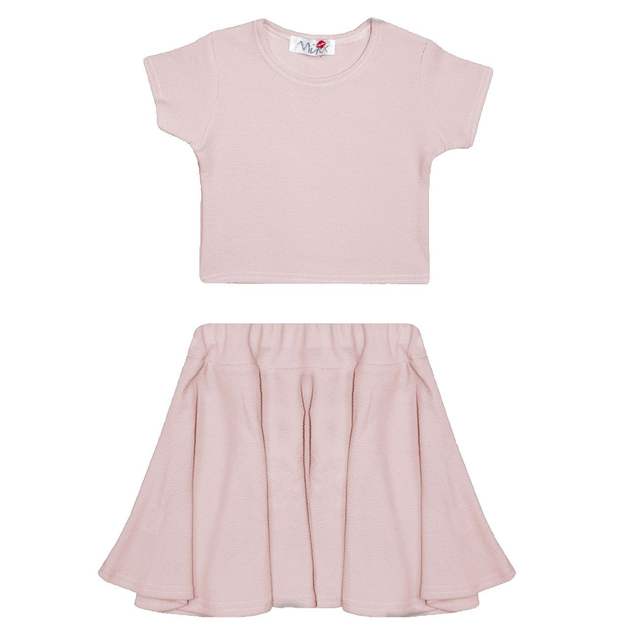 6e7e3f10414c NEW GIRLS Kids Plain Crop Tops Skater Skirts Range Individual and ...