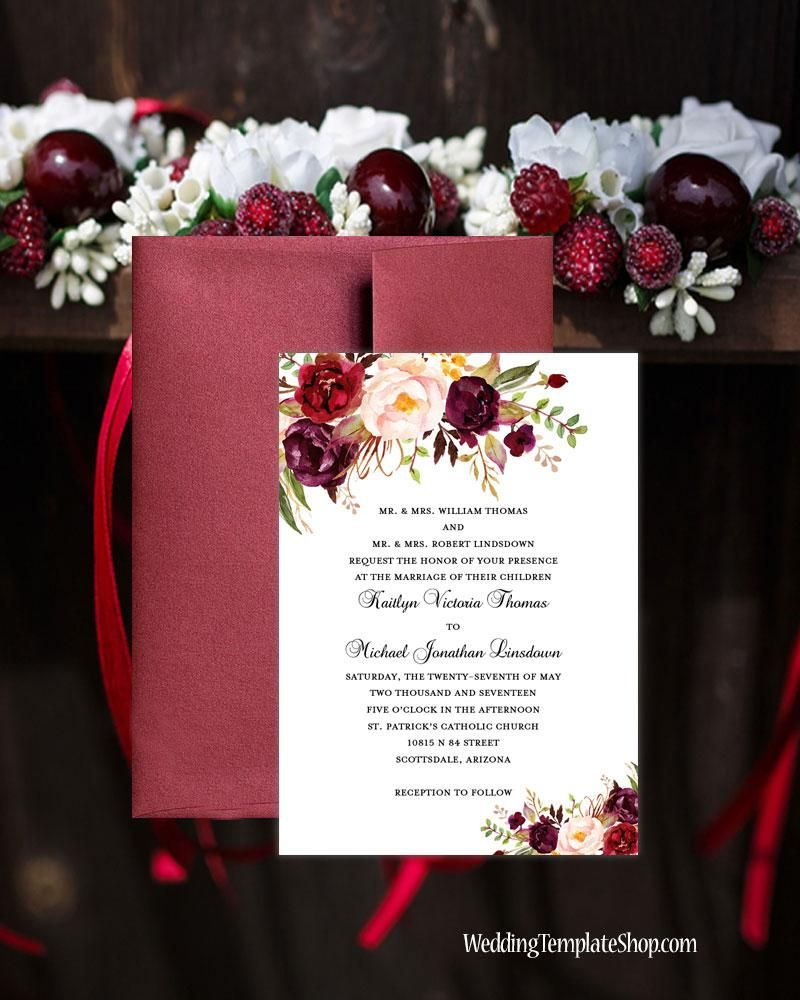 Printable Wedding Invitation Romantic Blossoms Burgundy Red Blush ...