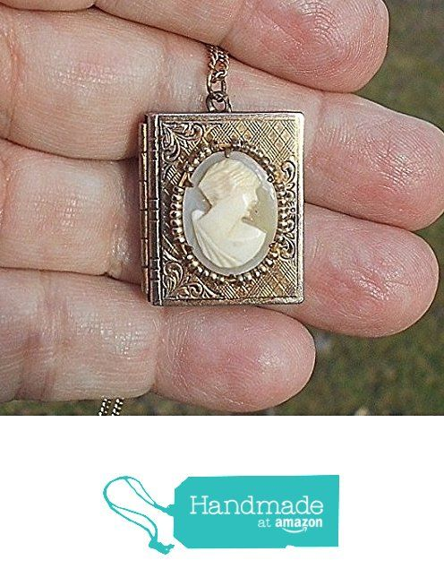 Vintage Locket with Hand Carved Shell Cameo Bezel Made of Tiniest Gold Seed Beads,Two Picture Locket Necklace. Marked Gold Filled. from EMENOW