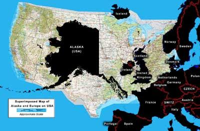 Superimposed Map Of Alaska And Europe On The Lower States Of - Alaska superimposed on us map
