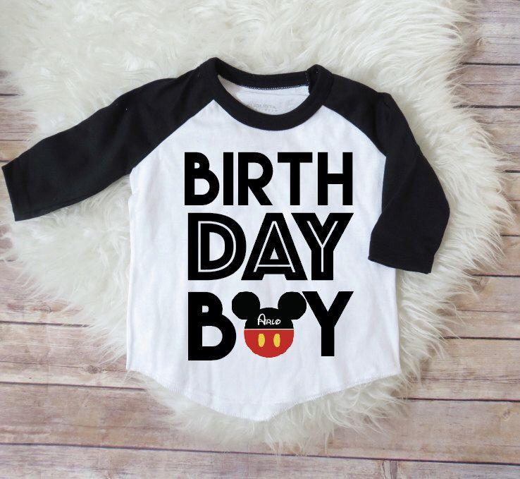 Birthday Boy Mickey Mouse Personalized Raglan Shirt