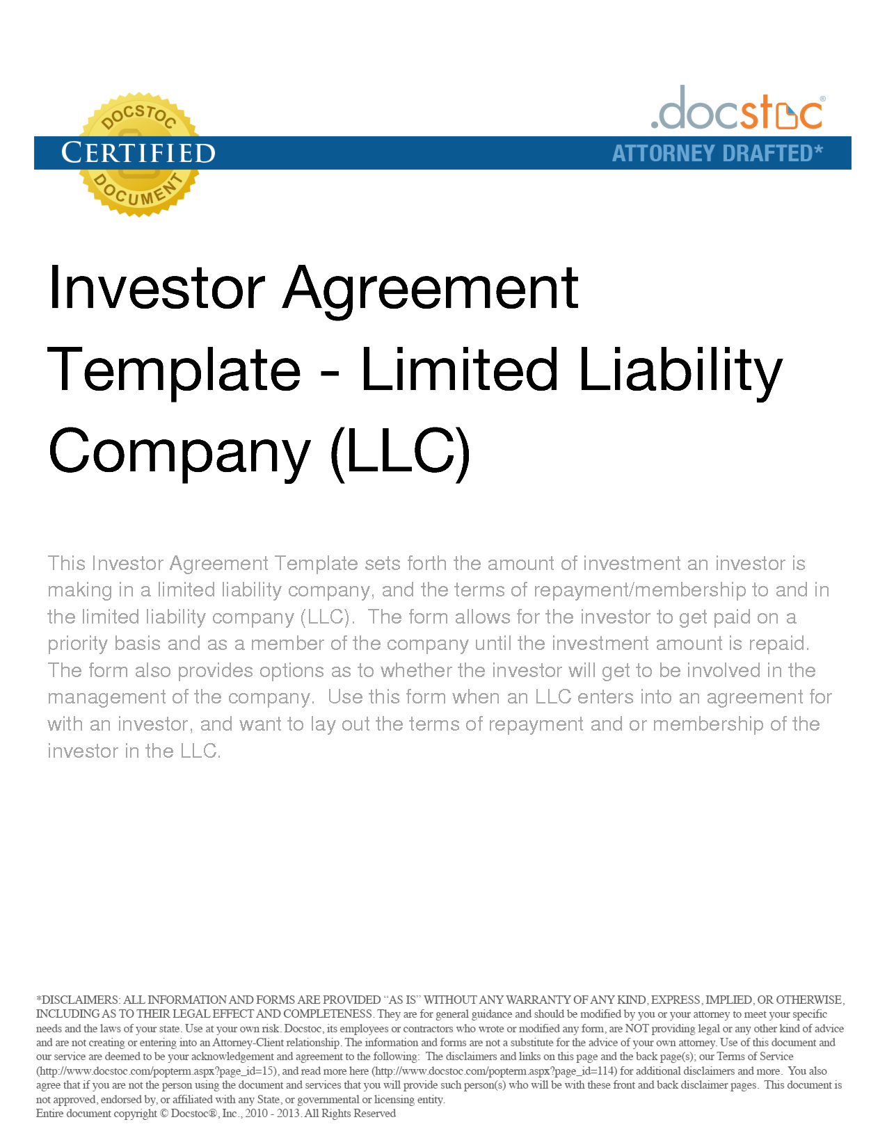 Investor Agreement Template Limited Liability Company LLC – Investors Agreement Template