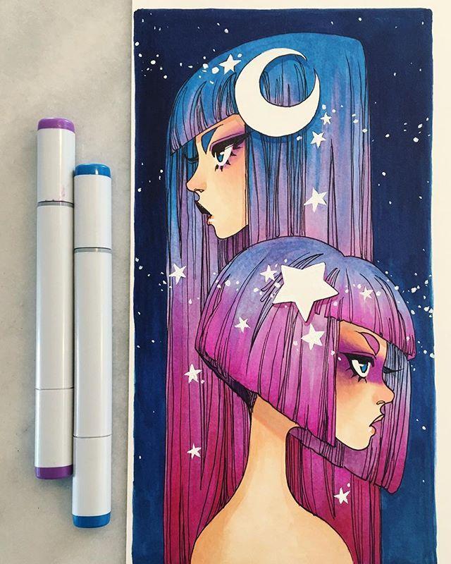 galaxy #inkgirls #copic #art #copicmarkers #stars #galaxy #moon #hair #fashion #anime #animegirls #makeup