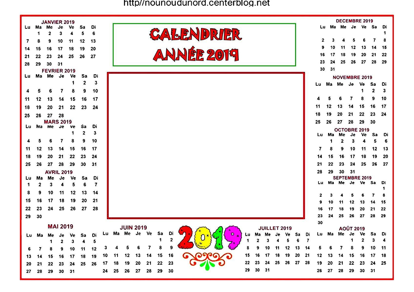 Calendrier Sans Annee.Calendrier Annuel 2019 Pour Ajouter 1 Photo Ou Autre