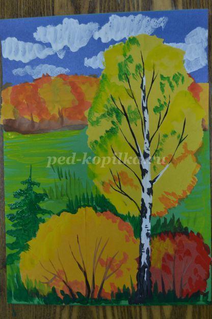Пейзаж: Золотая Осень для детей поэтапно с фото | Пейзажи ...
