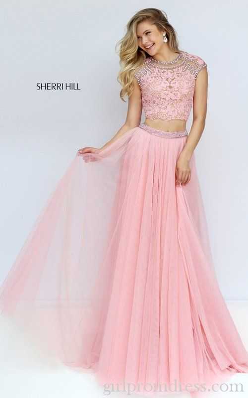 Lace Sherri Hill 50110 Tulle Two Piece Prom Dress Pink