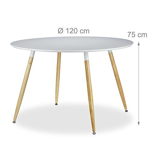 Relaxdays Runder Esstisch ARVID, Groß, Holz, HxD: 75 X 120 Cm,