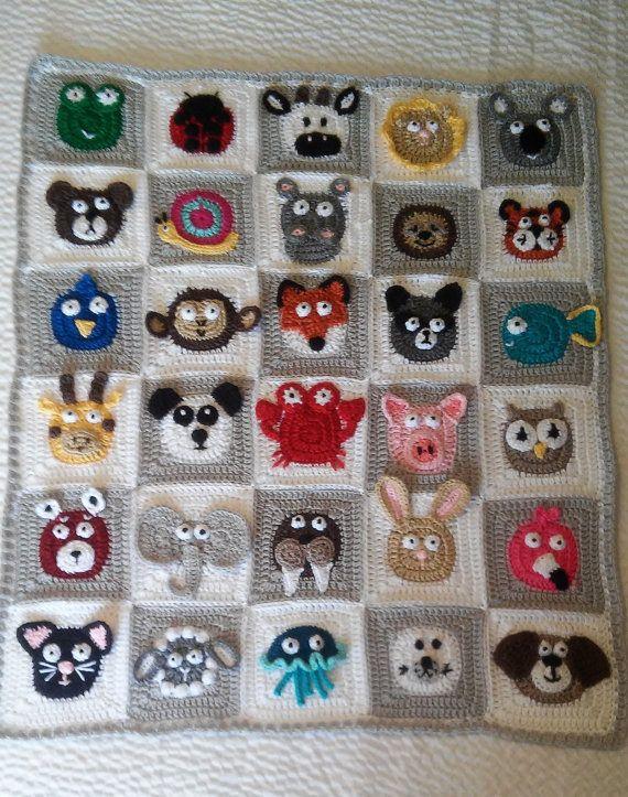 Crochet Zoo Keeper Blanket Animal Blanket by DesiDesignCreations Desi Desig...
