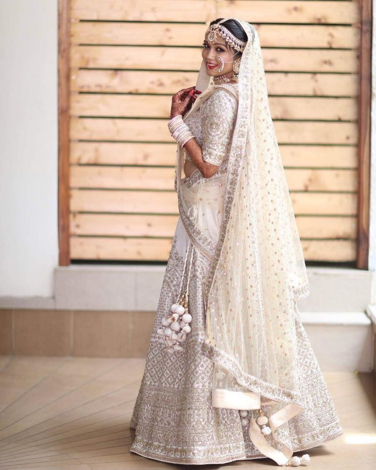 Real Indian Brides Show Us How To Wear White Lehengas Indian Wedding Outfits Indian Bridal Dress Indian Wedding Dress