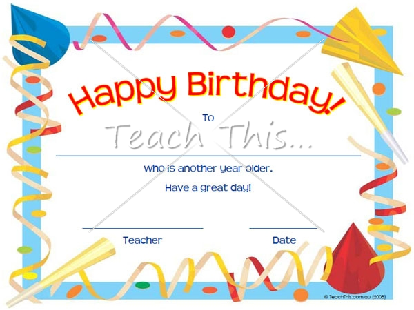 Birthday certificate student awards pinterest free printable birthday certificate printable classroom student awards and certificates teacher resources and classroom games yadclub