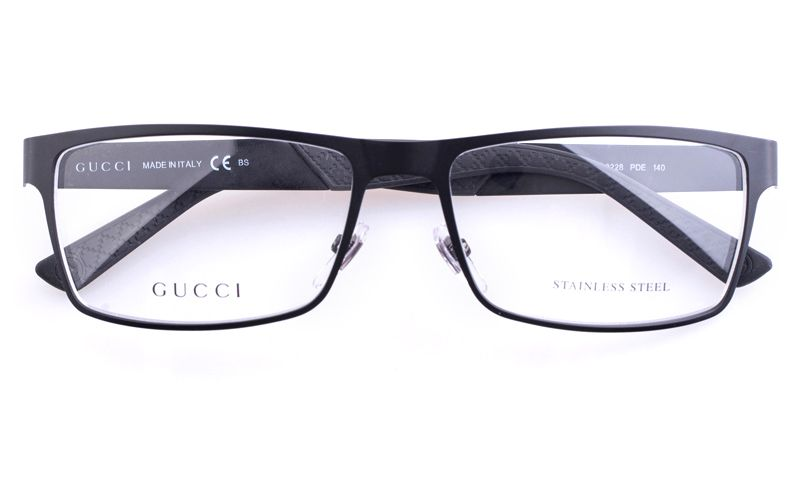 gucci gg2228 stainless steel mens square optical