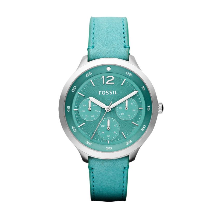 Fossil The Editor Leather Watch - Aqua