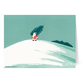 Gordon Santa Carrying Tree Holiday Cards