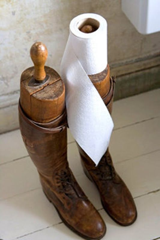 Equestrian Riding Boots With Shapers Used As A Toilet Paper Holder The Perfect Thing For Those That Are Too Dry To Wear