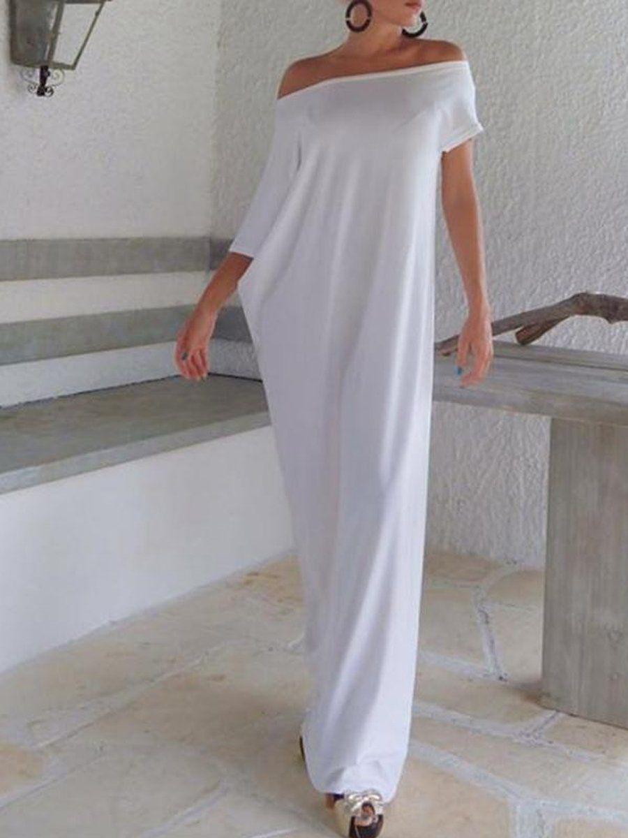 Description Sku 39f1f474ab33 Material Cotton Collar Neckline One Shoulder Pattern Type Plain Length Maxi Skirt Dress Maxi Shift Dress White Maxi Dresses [ 1200 x 900 Pixel ]