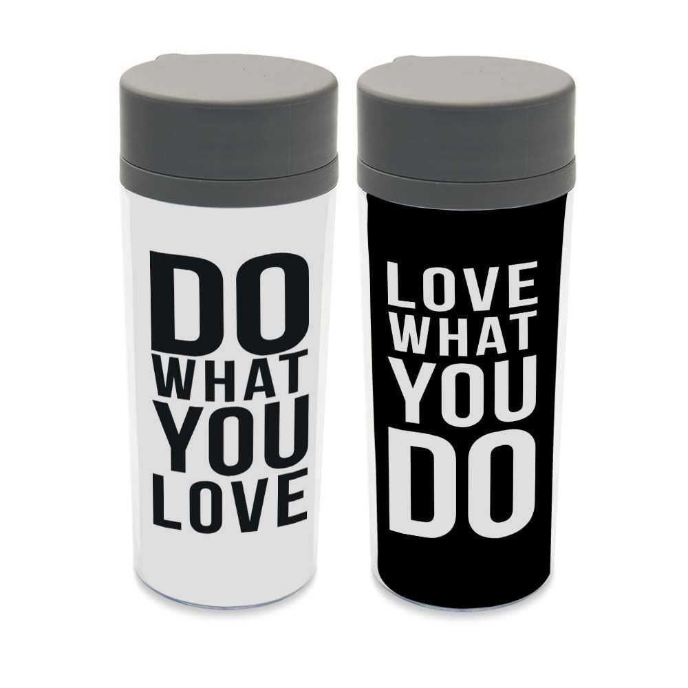 Plastic Insulated Black White Kids Water Bottle 300ml Art Gift BPA Free Personalized Modern Minimalist Typography Love Quote Cup
