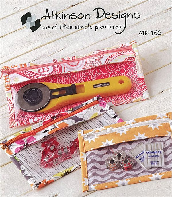 Bridget Bagette Pattern: a cute zippered case with a see-through front so you can see your stuff at a glance. Great idea!