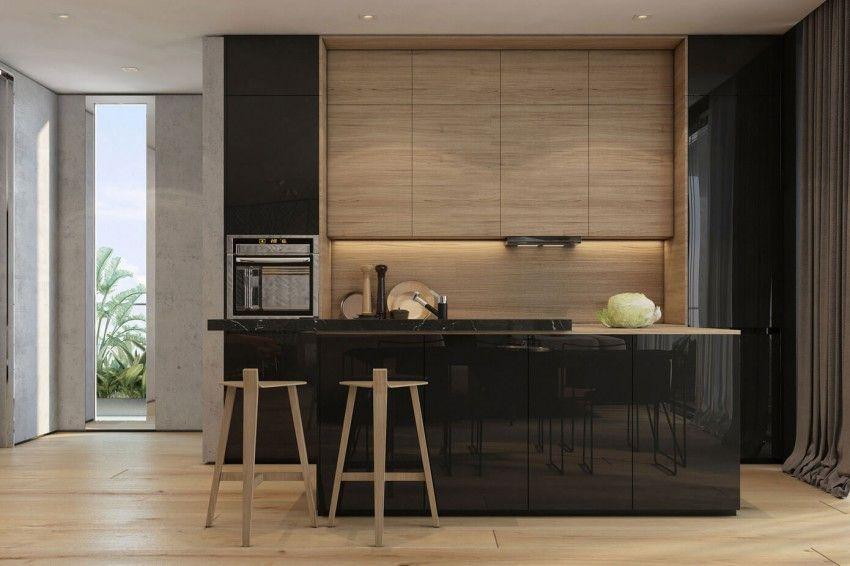 cocinas modernas combinación negro brillante y madera - Buscar con ...