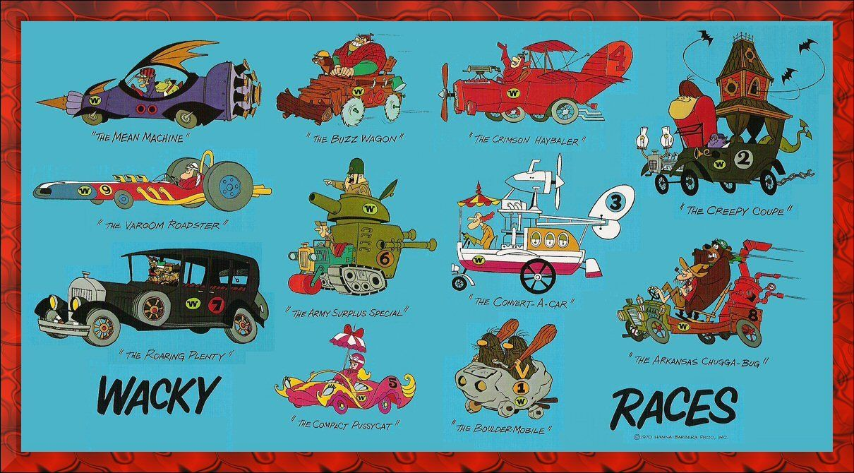 Exterior Vinyl Dick Dastardly Wacky Races Car Cartoon Sticker Decals x 2 Handed