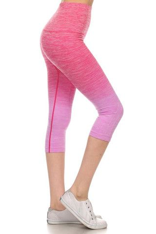 0aa4fa6f375d6d High Waist Ombre Fitness Leggings - Pink | Fitness/Yoga Leggings ...