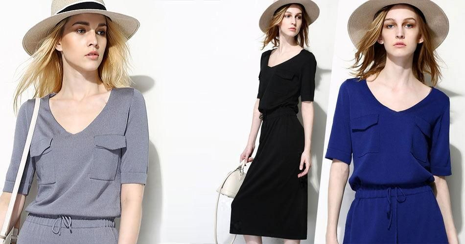 2f7396af721b3 2015 Women Summer Clothing Smart Casual Dresses V-Neck Fashion Celebrity  Street Snap And Holiday Dress