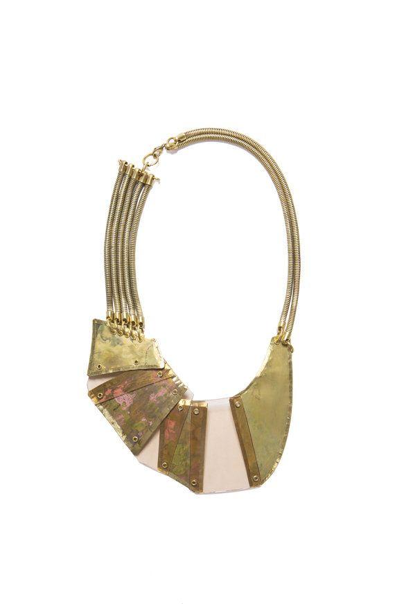 Gold Brass Necklace Bib necklace Designer by LizaJewelryArtist, $200.00