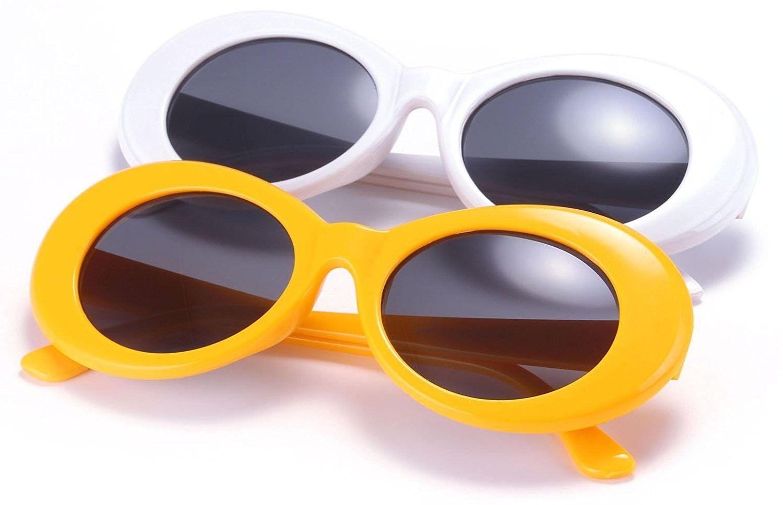 0fabf06772e22 Retro Oval Mod Thick Frame Clout Goggles Kurt Cobain Sunglasses -  C5180NHZKDN - Men s Sunglasses