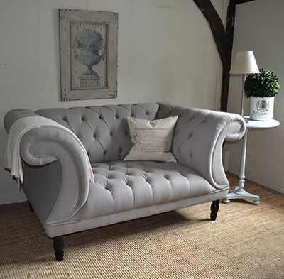Chesterfield Buttoned Sofa Grey Button Back Sofa 1930s 40s