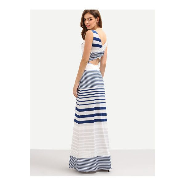SheIn(sheinside) Cutout Cross Wrap Back Multicolor Striped Tank Dress (31 AUD) ❤ liked on Polyvore featuring dresses, multicolor, wrap maxi dress, striped maxi dress, white tank dress, beach dresses and colorful maxi dress