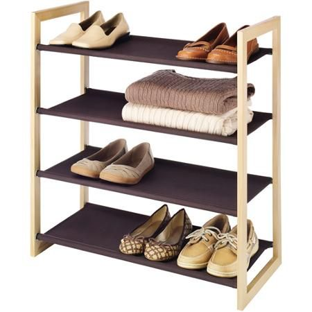 Utility Shelves Walmart Impressive 30Buy Whitmor 4Tier Wood Frame With Fabric Shelves Espresso At Decorating Inspiration