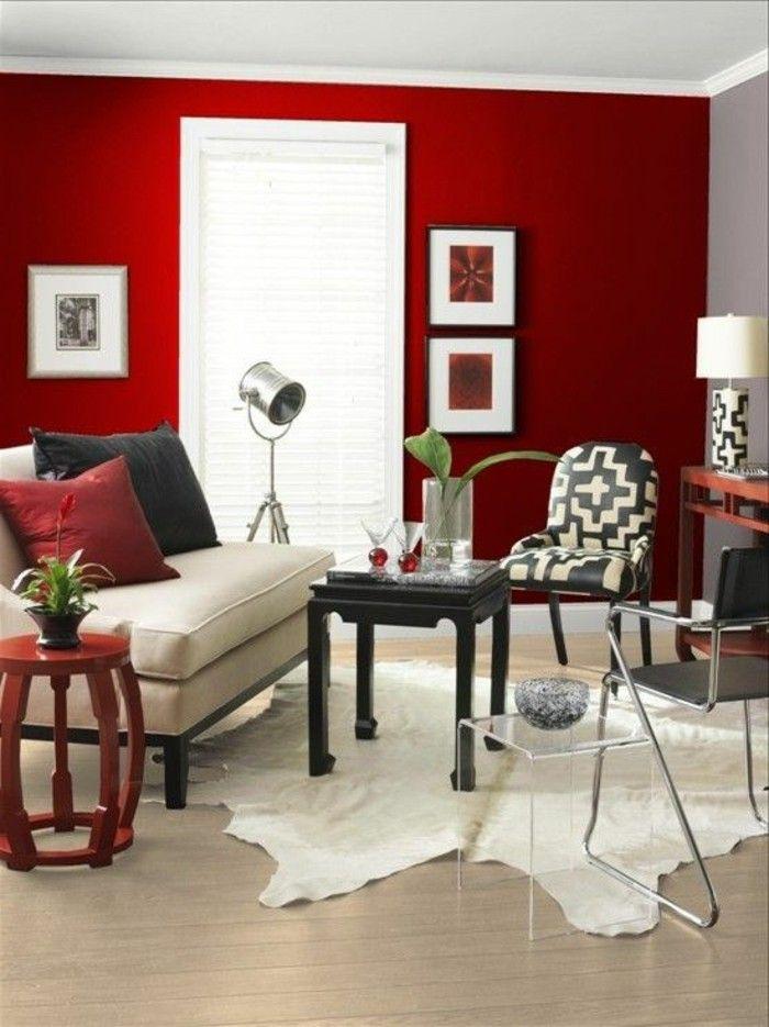 Living room painting ideas red walls fur carpet | Living ...