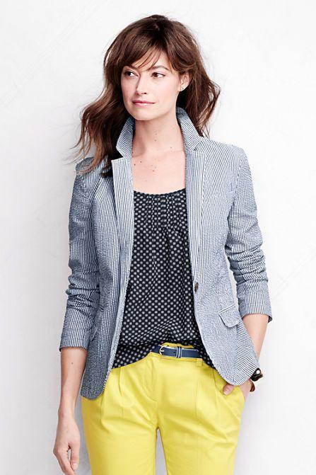 Women S Long Sleeve Seersucker Blazer Jacket From Lands End