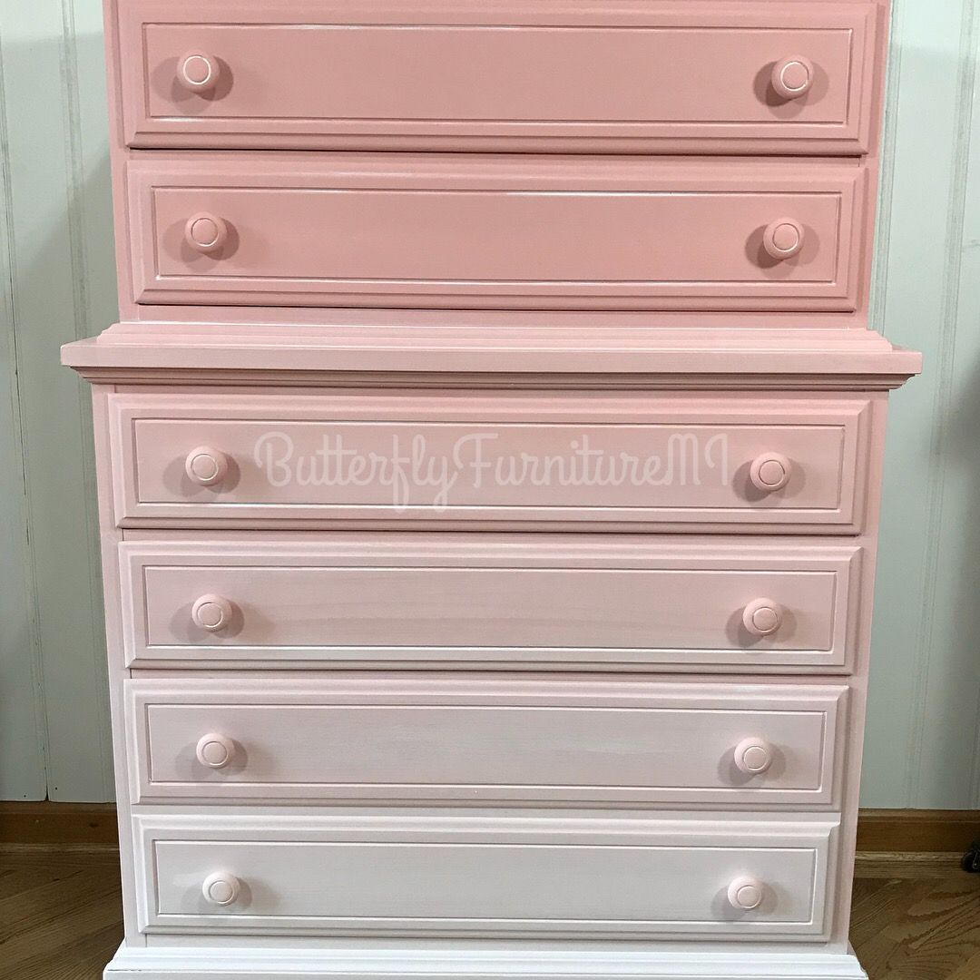 Ombre Pink Dixie Dresser Refinished With Annie Sloan Scandinavian