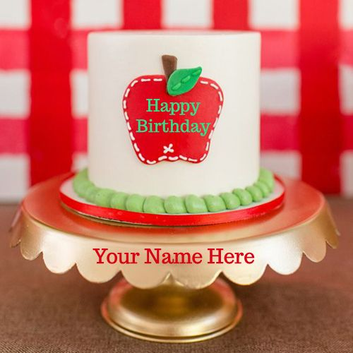 Cake Images Dow : Write Your Name On Apple Birthday Cake Greetings Online ...