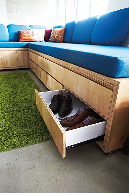 An open concept 3 room hdb flat home decor singapore living room pinterest open for Living room bench with storage