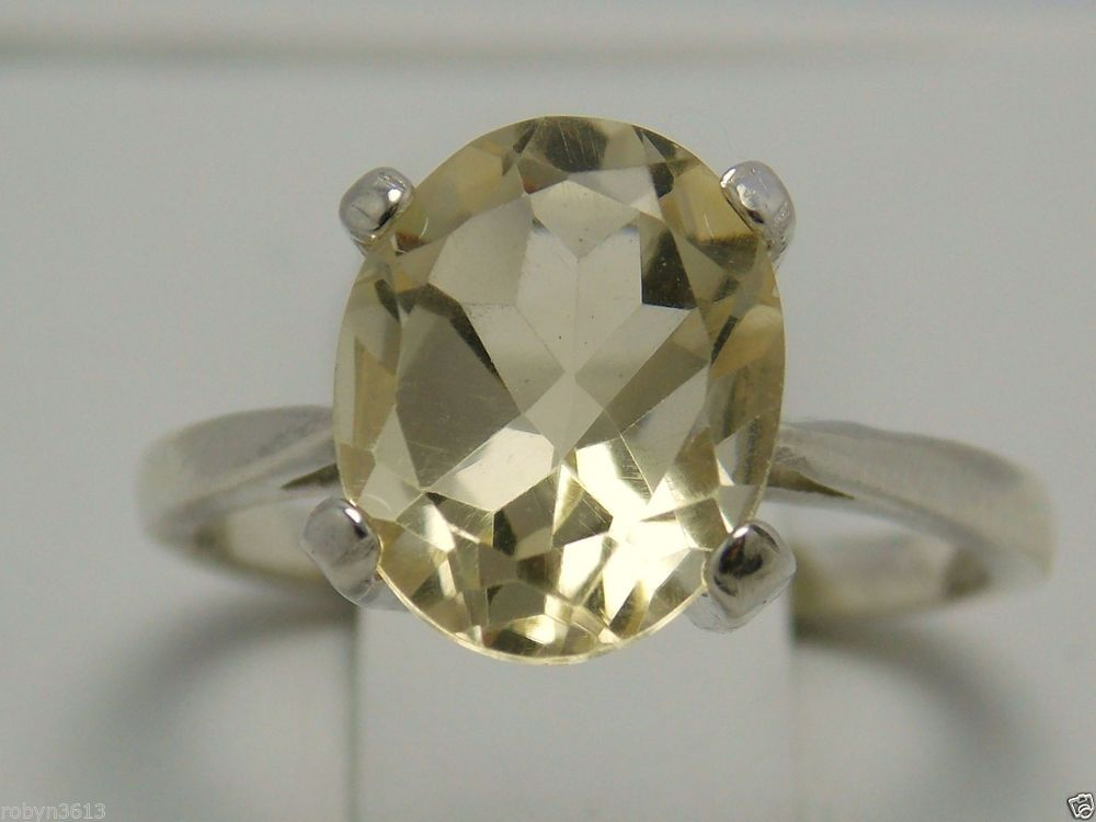 2.60ct natural yellow Citrine 925 sterling silver ring size 5  USA made