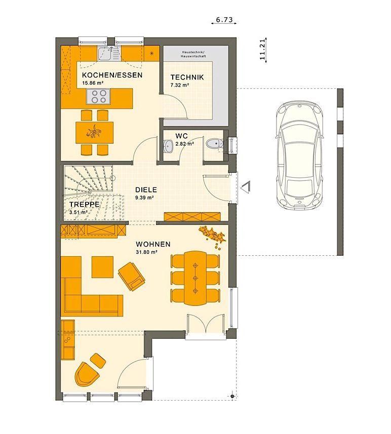 Doppelhaus Grundriss Erdgeschoss schmal mit Carport Garage
