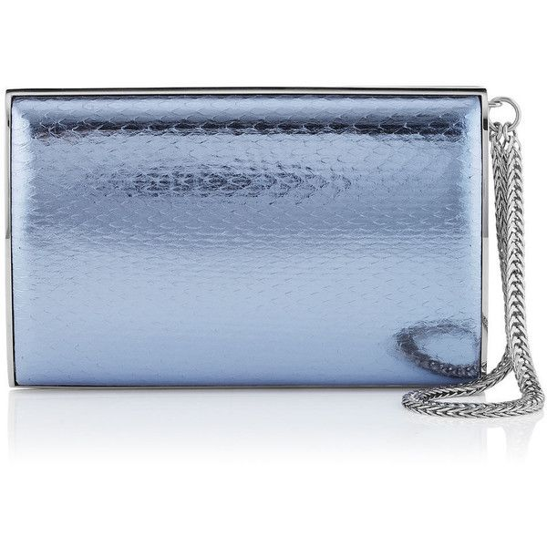 Jimmy Choo CARMEN Ice Blue Metallic Water snake Clutch Bag (6.025 BRL) ❤ liked on Polyvore featuring bags, handbags, clutches, blue, ice blue, jimmy choo purses, hard clutch, jimmy choo, blue purse and structured handbag
