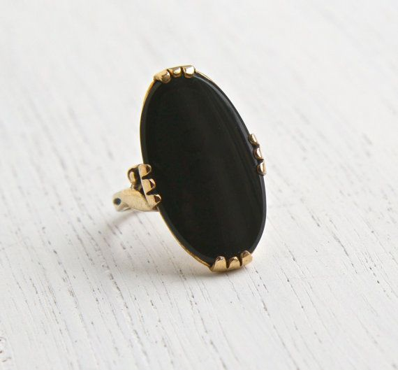Vintage 10k Gold Filled Onyx Black Stone Ring Size 6 Art Deco Signed C C Clark And Coombs Jewelry Dark O Black Stone Ring Black Stone Antique Cameo Jewelry