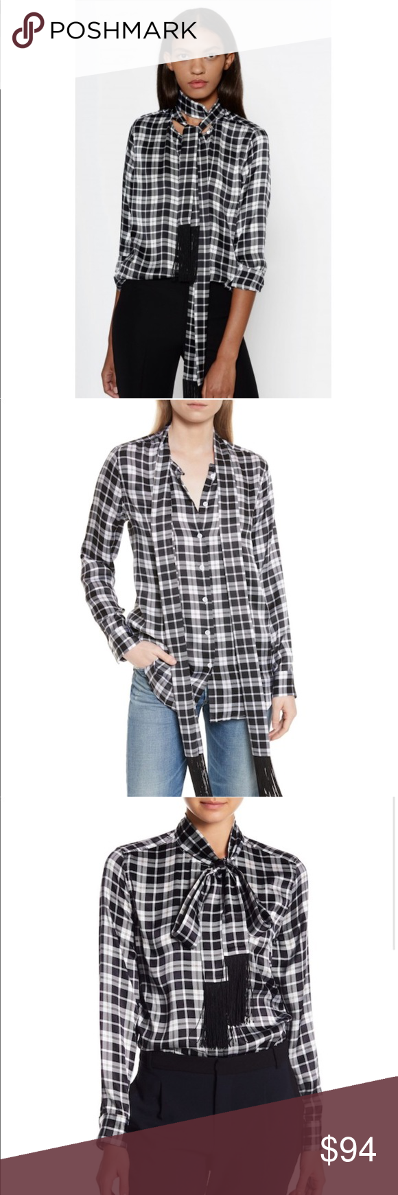 87119987ac0867 Equipment Essential Tie Neck Blouse Brand new with tags Details Fringy ties  drape down the