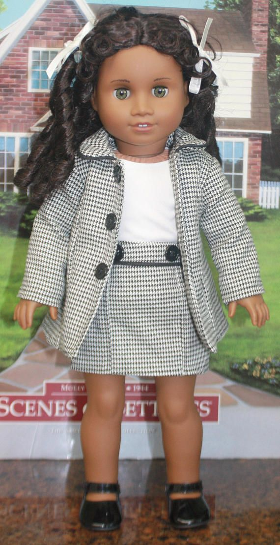 American Girl Style Jacket and Skirt Ensemble in Black and | Doll ...