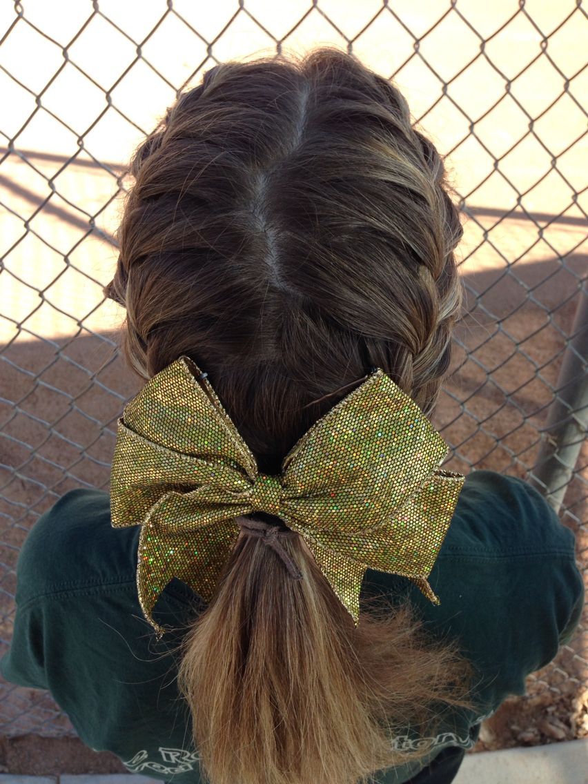 Softball Game Day Hairstyle Sports Hairstyles Bow Hairstyle Cheerleading Hairstyles