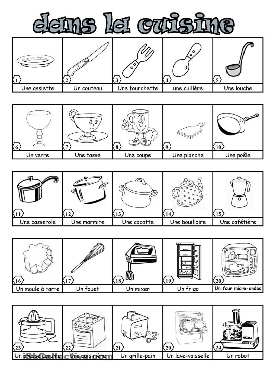 Dans la cuisine francese vocabulaire cuisine ustensile cuisine und vocabulaire fran ais - Outil de cuisine liste ...