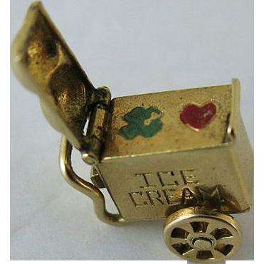 Vintage 14K Gold Mechanical Ice Cream Cart Charm..