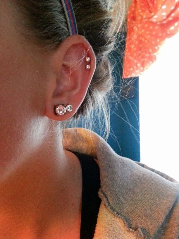 Double cartilage. Unique Piercings For Females | Ear Piercing Ideas 2018 | Industrial Piercing Piercings | edgiest piercings. #legitbodyjewelry #Inkspiration. Check out the image by visiting the link. #clairesearpiercing