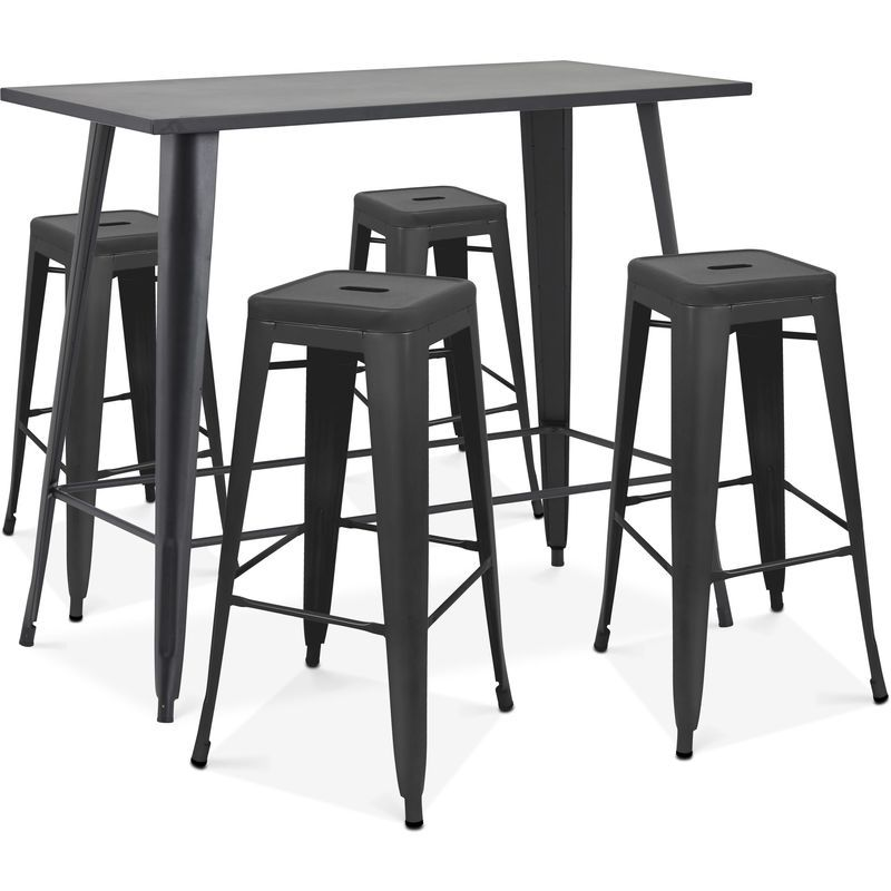 Table Haute De Jardin Et 4 Tabourets En Metal Noir Mat New York Noir 104950 Table Haute Table De Balcon Table De Jardin