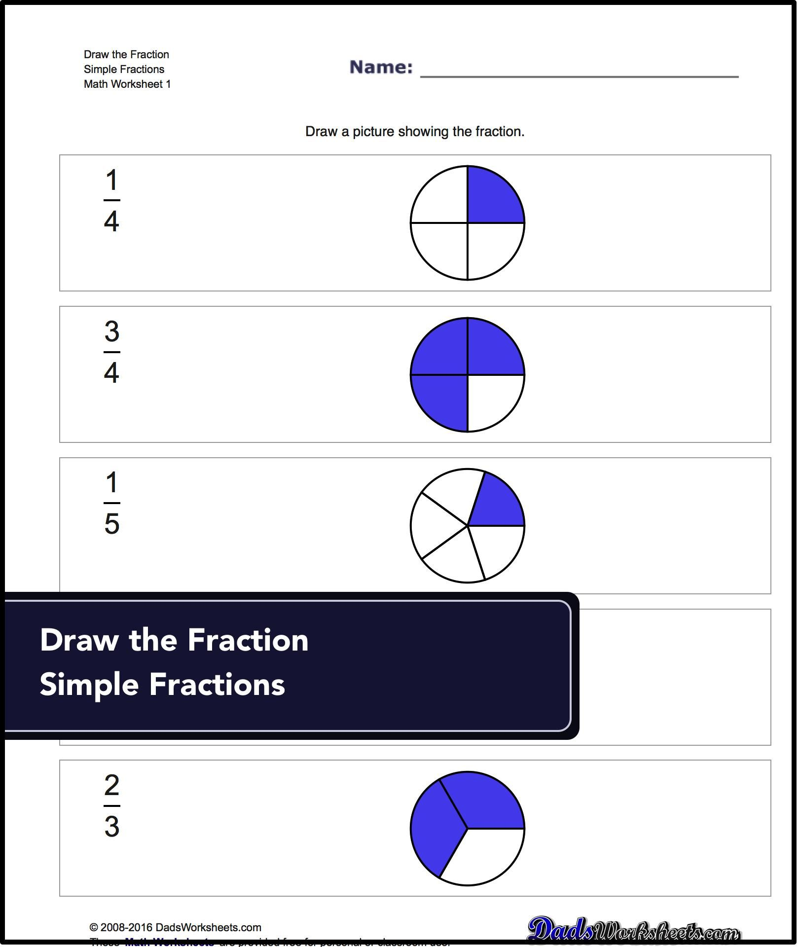 Fractions worksheets where students are given a simple fraction